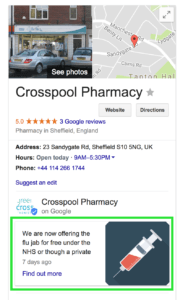 Google My Business can help you promote the flu jab service