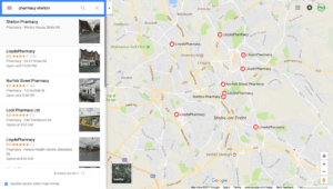 Pharmacies as seen on Google Maps