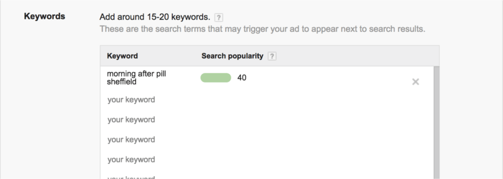 Google's keyword planner telling me that there are 40 searches for this term every month