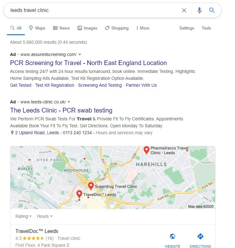 google results page layout