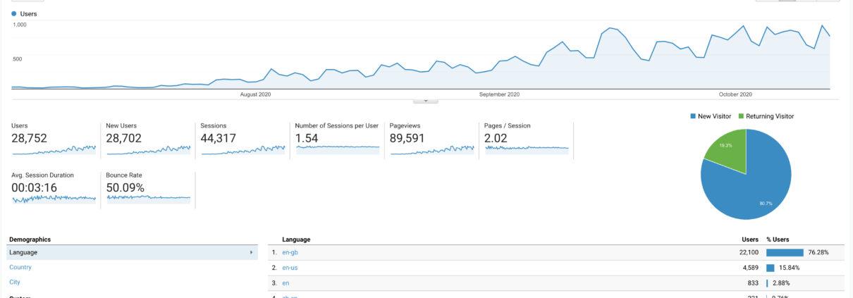 pharmacy website statistics showing 89 thousand page views and 28 thousand new users