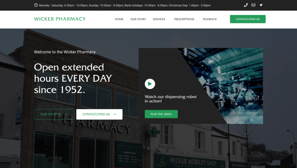 Pharmacy website builder