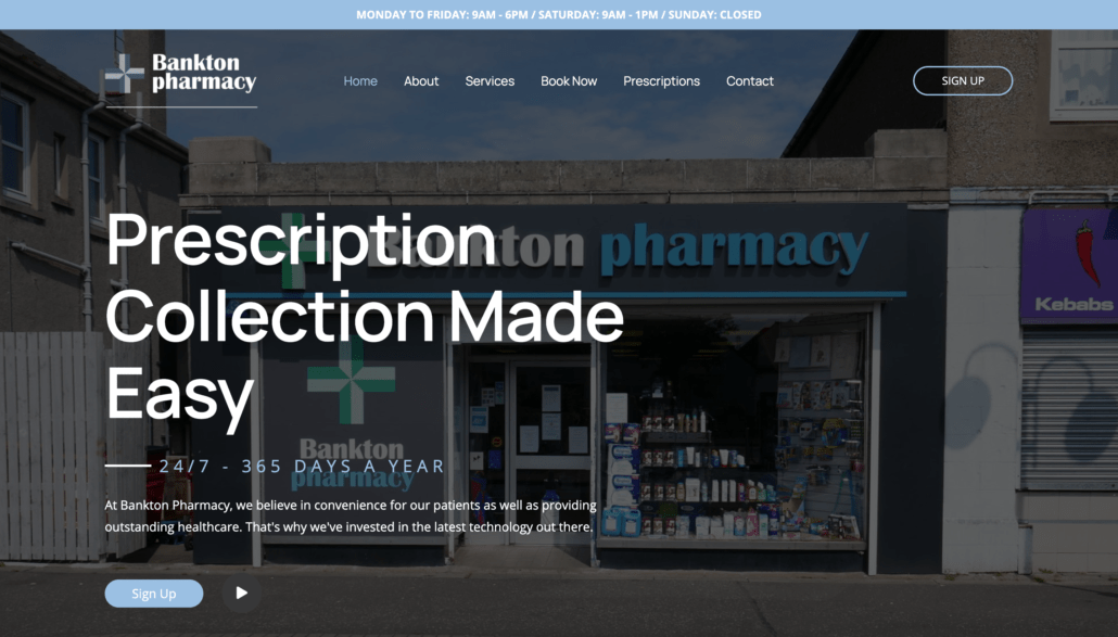 Pharmacy website design 2
