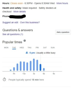 a google my business post showing the public helpful information about Covid-19 policies